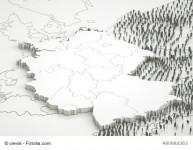 Deutschland mit angrenzenden Laendern und Fluechtlingen